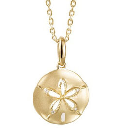 14kt sand dollar pendant with diamonds