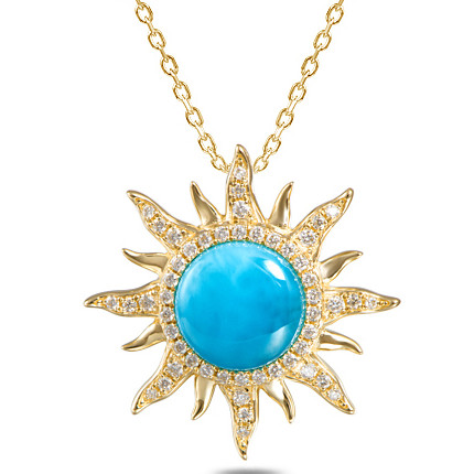 14kt larimar sun pendant with diamonds