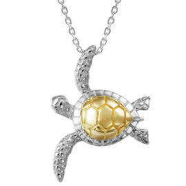 14kt two tone turtle pendant