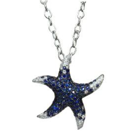 blue sapphire & diamond starfish pendant