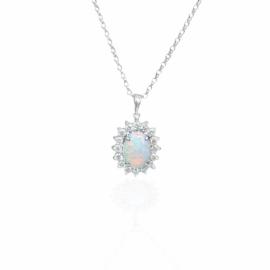 23673 opp1279wt 14kt white gold oval opal .79ct & dia .33ctw pendant