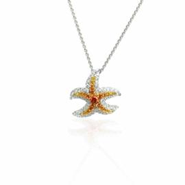 24554 ARTISTRY - 14kt white gold diamond .23ctw & yellow sapp .19ctw starfish nklc