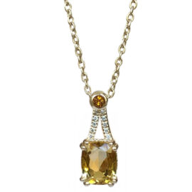 citrine, & diamond pendant
