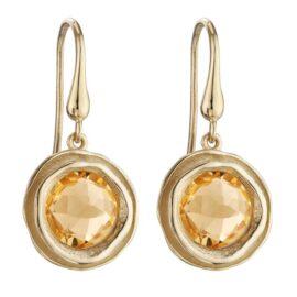 textured bezel set citrine dangle earrings