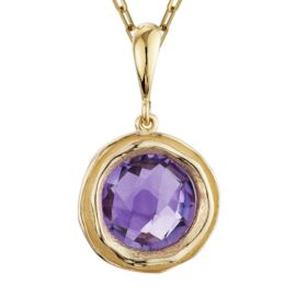 amethyst bezel set necklace