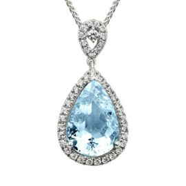 pear shape aquamarine & diamond halo necklace