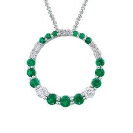 open circle emerald & diamond necklace