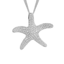 pave set diamond starfish necklace