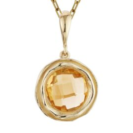 citrine in textured bezel setting necklace
