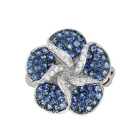 blue sapphire & diamond flower ring