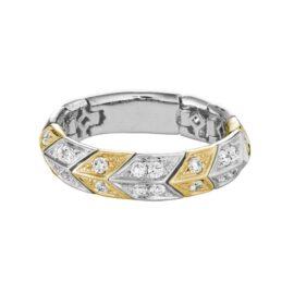 14kt white & yellow gold diamond flexible ring