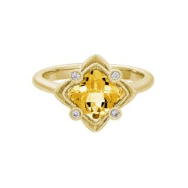 cushion shape citrine & diamond ring