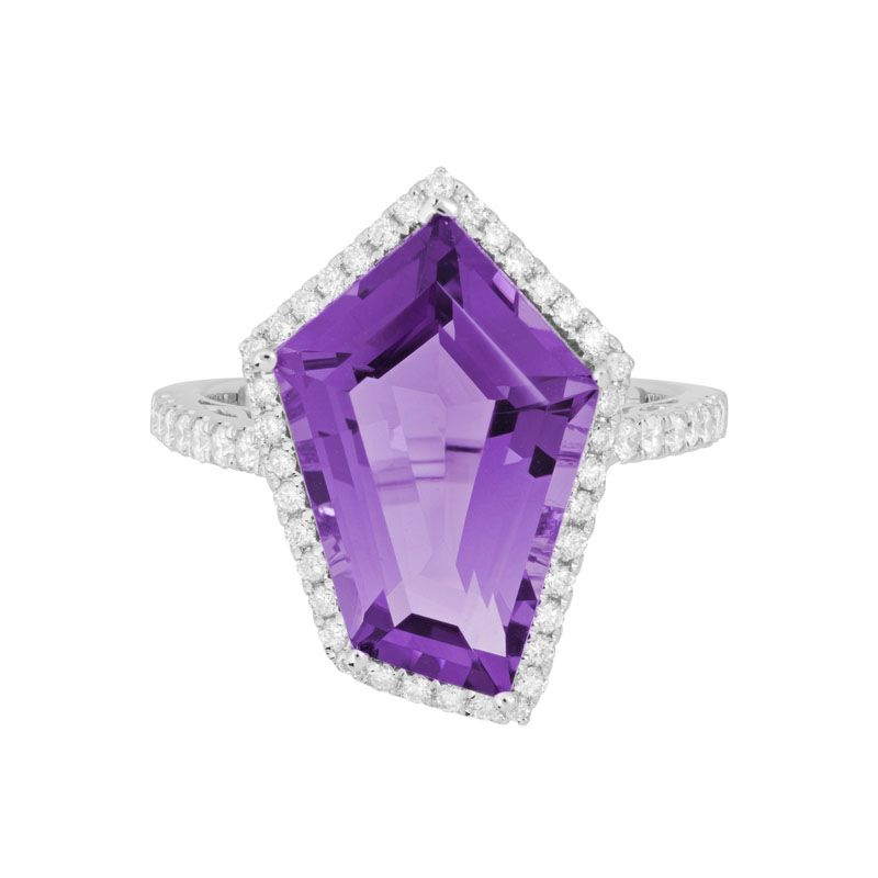 angled amethyst & diamond halo ring