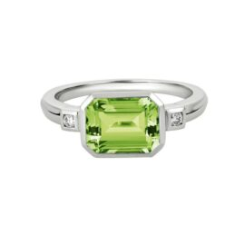 bezel set peridot & diamond ring