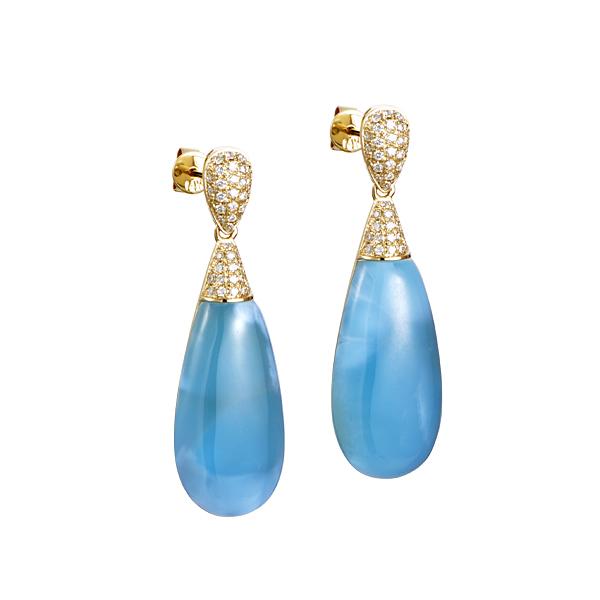 larimar & diamond tear drop dangle earrings