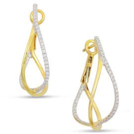14kt twisted diamond hoops