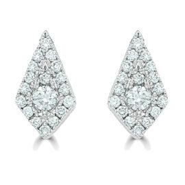14kt kite shape earrings with diamonds