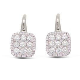 14kt diamond cushion shape drop earrings