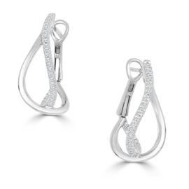 14kt diamond crossover earrings