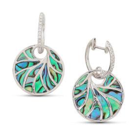 14kt abalone & diamond dangle earrings