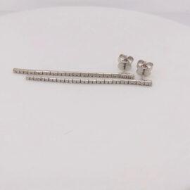micro line diamond earrings