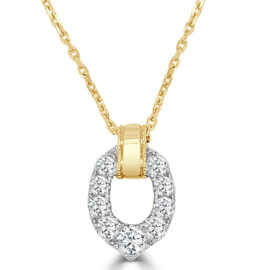 14kt two tone diamond necklace teardrop shape