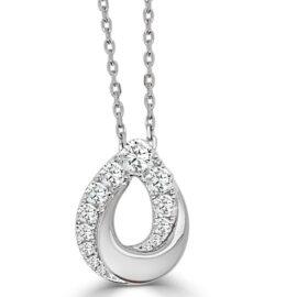 14kt deco teardrop shape necklace with diamonds