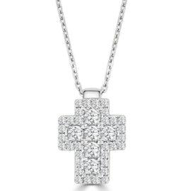 14kt diamond cross necklace