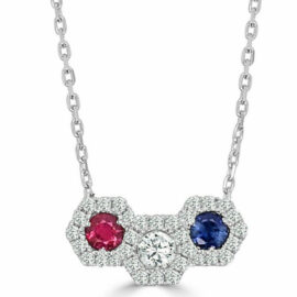 14kt ruby, sapphire, & diamond cushion cluster necklace
