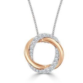 14kt two tone twist halo necklace