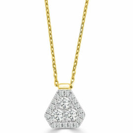 14kt two tone shield diamond necklace