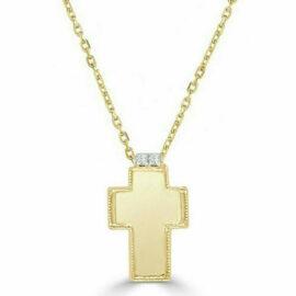 14kt polish gold & diamond cross necklace