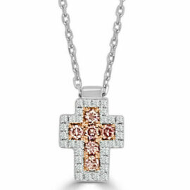 14kt white & natural pink diamond cross necklace