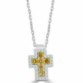 14kt white & yellow diamond cross necklace
