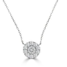 14kt diamond cluster necklace