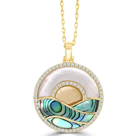 14kt sunset mother of pearl, diamond, abalone necklace