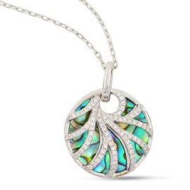 14kt abalone & diamond necklace