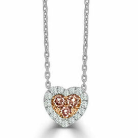 14kt pink & white diamond heart necklace