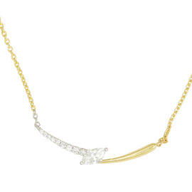 14kt two tone marquise & round diamond necklace