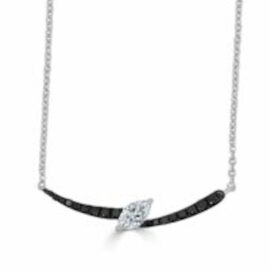 1k4t marquise diamond with black diamonds necklace