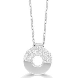 14kt medium Nebula diamond circle necklace