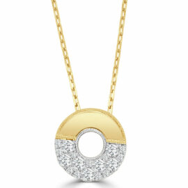 14kt medium open circle diamond necklace