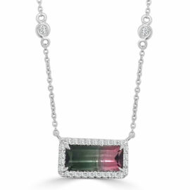 14kt bi-color tourmaline & diamond necklace