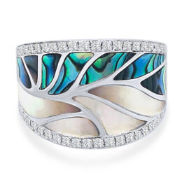abalone & mother of pearl with diamonds ring