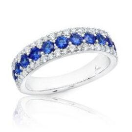 3 row sapphire & diamond band