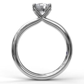 round solitaire engagement ring for 1.00 carat center