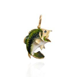 enameled jumping bass pendant