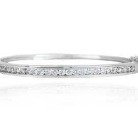 1.43ctw channel set diamond hinged bangle