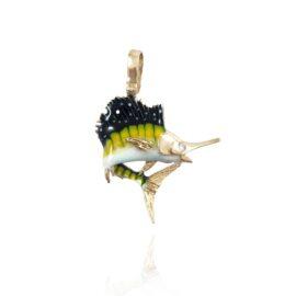 enameled jumping sailfish pendant
