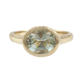 green amethyst ring with diamonds